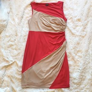 Pink & Tan Ruched Sleeveless Dress, 10